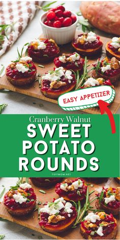 Make room for roasted Cranberry Walnut Sweet Potato Rounds on your table this holiday! This appetizer has all the flavors of Thanksgiving in one tasty bite. PRINTABLE RECIPE   how-to video at TidyMom.net