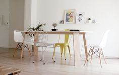 chair tolix eames bertoia decoration clean dinner room minimal white