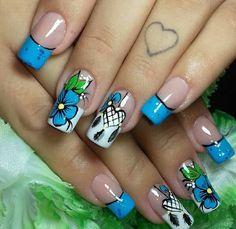 Diy Nails, Cute Nails, Nail Desighns, Rainbow Nail Art, Pastel Nails, Flower Nails, Creative Nails, French Nails, Nail Inspo
