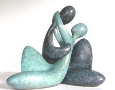 Couple assis - Sculpture,  27x10x35 cm ©2013 par Serge Couvert -            bronze, couple, amoureux