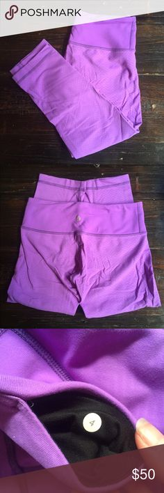 Lululemon Wunder Under Crops Bright purple, barely worn, excellent condition lululemon athletica Pants Track Pants & Joggers
