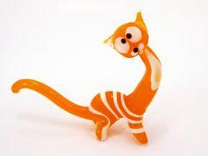 Glass Orange Cat Figurine Homedecor Sculpture by sunvendor on Etsy