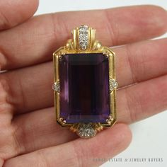 See more #vintage #jewelry #vintagejewelry on our website (link in bio!) #VINTAGE LARGE #AMETHYST & #DIAMOND 14K YELLOW GOLD #PENDANT