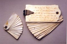 Thomas Jefferson's pocket notebooks, each a fan of erasable ivory plates, on which he would write scientific observations and memoranda before copying them into notebooks in the evening. At Monticello.