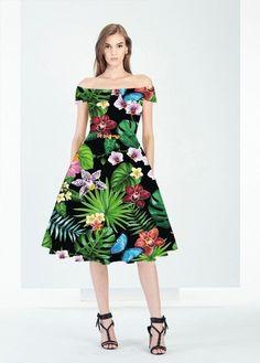 Vintage Boat Neck Black Floral Retro Hepburn Style 50's Dress