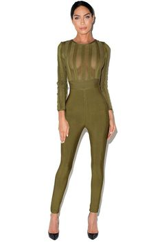 b05926ffaa 2017 New Winter Women Runway Bandage Jumpsuit Black Olive-green O-Neck Long  Sleeve Full Length Party Bodycon Bodysuit Wholesale