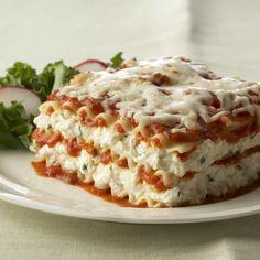 Ricotta, mozzarella and Parmesan cheeses seasoned with Italian herbs are layered with pasta and marinara sauce.