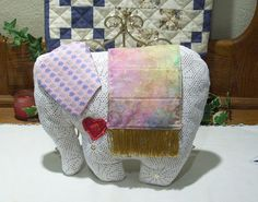 Elephant Pillow  Shabby Chic Decorative Accent by PattiesPieces