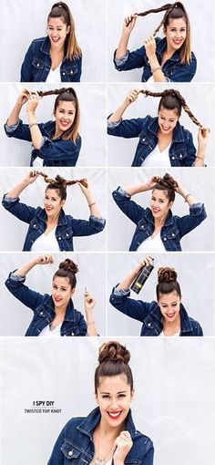 Neat hair bun and easy for those early mornings...
