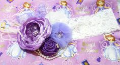 Couture Sofia the First headband, Sofia the First birthday,, ,Rhinestone, pearls. Photo prop, Made in USA. on Etsy, $14.00