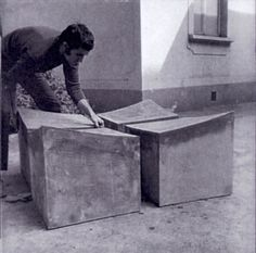 Alighiero Boetti, working at a now lost Arte Povera work. Photo circa1966