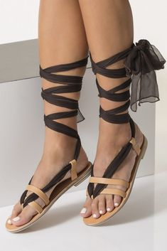 Bohemian Leather Sandals Silk Lace up sandals Custom Color