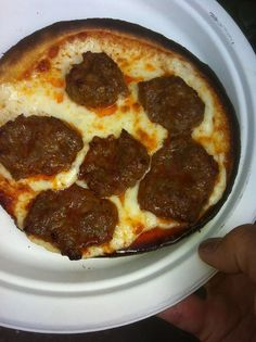 Two minutes later...... Tortilla sausage pizza.  Delish!
