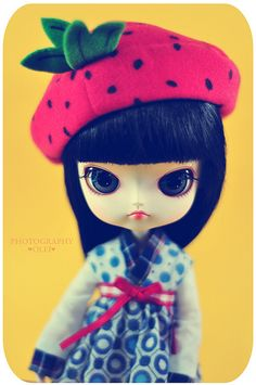 Another Blythe doll strawberry hat pic.  How can I make that hat for my 2, soon to be 3-year-old?