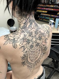 Making progress on my wifes back piece. Lots of shading and dots to come. Full Neck Tattoos, Full Chest Tattoos, Neck Tattoos Women, Girl Back Tattoos, Chest Tattoos For Women, Chest Piece Tattoos, Pieces Tattoo, Sleeve Tattoos, Time Tattoos