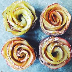 saturday morning baking project: rose apple tarts. they are surprisingly easy to make. today i used whole rye flour and raw cane sugar for the dough, but many types of pastry dough would work here i think. a (slightly different, vegan) recipe for this is on my blog in the archives, link in profile.