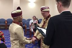 The first ever gay Muslim wedding has taken place in the UK Metro has reported. The obviously happy grooms Jahed Choudhury 24 and Sean Rogan 19 tied the knot in Walsall registry office in traditional Muslim attire.  Before their wedding the two have been together for two years first met when Choudhury was crying on a bench in Darlaston. Speaking about their relationship Choudhury told the Express and Star:Id not long overdosed and I was crying on a bench and Sean came over and asked if I was…
