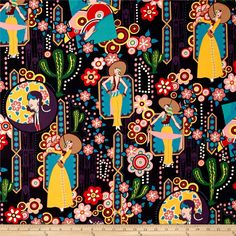 Alexander Henry Folklorico Ranchera Black from @fabricdotcom  Designed by De Leon Design Group for Alexander Henry, this cotton print fabric is perfect for quilting, apparel and home decor accents. Colors include navy, plum, burgundy, pink, brown, green, blue, gold and ivory.