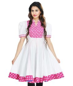 A traditional powerhouse that packs a punch, sounds like our edit of casual summer kurtis. These ethnic numbers go well with leggings or denims. From bright summer hues to ice-cream colors, these kurtis spell elegance and accentuate your curvaceous figure. So, come take a look at our rich designs and prints and take your pick. We guarantee you'll still be turning heads in this Indian attire.BRAND: PaisleiCATEGORY: KurtiCOLOUR: White and Dark PinkMATERIAL: Cotton