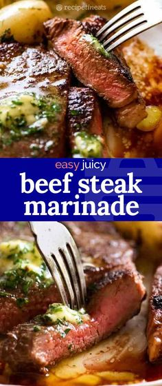 This is a simple but magical beef steak marinade that adds juiciness and flavour into steaks transforming good value steaks from just ok to wow! It injects extra flavour without overpowering the natural flavour of beef and makes the meat tender. Round Steak Marinade, Steak Marinade Recipes, Marinated Steak, Meat Recipes, Vegetarian Recipes, Pizza Recipes, Dinner Recipes, Fish And Chips Rezept, Spareribs