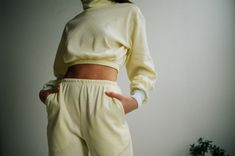aleur Butter Waffle Lounge Pants - Yellow on Garmentory Lounge Pants, Lounge Wear, High Rise Pants, Fast Fashion, Cropped Sweater, Trousers Women, Fabric Material, Yellow, Model