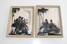 Vintage Pair Black Silhouette Reverse Romantic by PeggysTrove, $55.00