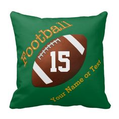 "Your NAME and Your Jersey NUMBER or Monogram on Green Football Pillows. Type in YOUR TEXT into the 4 Text Box Templates. Green background color and customizable text can be change to any color too. See INSTRUCTIONS in the product description ""Read More"" area. See ALL Custom and Personalized Football Gifts CLICK HERE: http://www.zazzle.com/littlelindapinda/gifts?cg=196532339247083789&rf=238147997806552929  ALL of Little Linda Pinda Designs CLICK HERE: http://www.Zazzle.com/LittleLindaPinda*/"