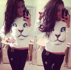 Hot sale Fashion 2014 Womens Long Sleeve Chic Blue Eyes Cat Face Print Hoodies Tops Trendy Knitted Sweatshirt DF 014-in Hoodies & Sweatshirts from Apparel & Accessories on Aliexpress.com | Alibaba Group