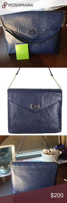 Kate Spade French Navy a la vita ostrich Leena Bag I wore this bag one time on Mother's Day. It's Like New. I am mostly using crossbody small bags, and will not use this. It's suuuuuper nice though. See pic for dimensions and details. kate spade Bags Satchels