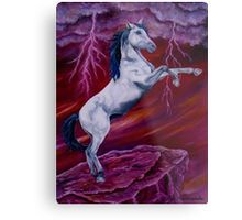 Metal Print, Horse, painting, whimsical,sky,equine,equestrian,animal,wild,wildlife,stallion,motion,movement,action,colorful,red,purple,vivid,colors,standing,upright,on two legs,fantasy,fun,fancy,figurative,unique,artistic,beautiful,cool,awesome,decor,contemporary,modern,virtual,deviant,unique,fine,art,oil,wall art,awesome,cool,image,picture,artwork,for sale,redbubble