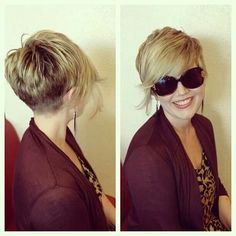 Cute pixie cut. Like the very back of this, longer sides and bangs, but like the…