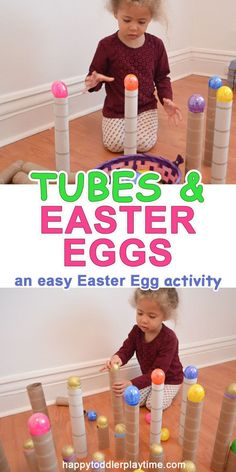 Tubes and Easter Eggs - HAPPY TODDLER PLAYTIME