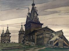 russian-style: Russian North by Ivan Bilibin, Some landmarks were lost since then. Ivan Bilibin also did great illustrations for Baba Yaga Ivan Bilibin, Russian Architecture, Historical Architecture, Wooden Architecture, Russian Folk Art, Inspiration Art, Russian Culture, Art Nouveau, Russian Fashion