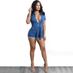 d4987d1b42 Women Summer Casual Street Denim Short Sleeve Playsuits Deep V Party Jeans  Slim Jumpsuits Female Bodysuits