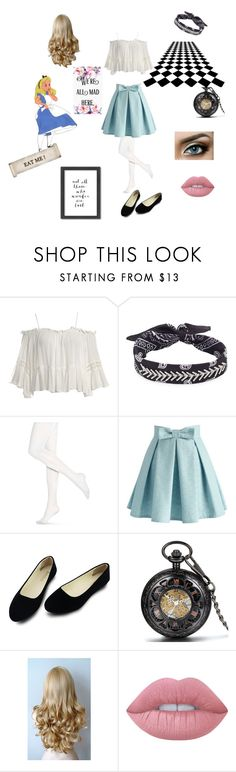 """""""Alice In Wonderland~ Alice"""" by slytherinprincess-2 ❤ liked on Polyvore featuring Disney, Sans Souci, Fallon, Hue, Chicwish, Lime Crime and Americanflat"""