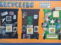 Recycling themed interactive display featured three wheelie bins and lots of… Classroom Displays Ks2, School Displays, Library Displays, Classroom Ideas, Science Display, Interactive Display, Recycling For Kids, Recycling Center, Recycling Information
