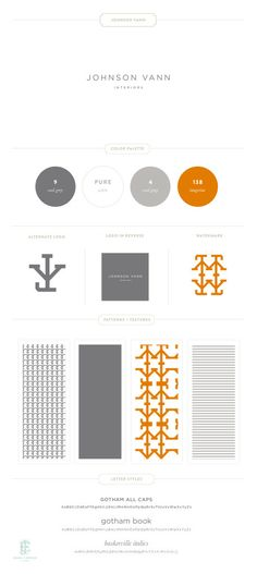 Johnson Vann Interiors Branding by Emily McCarthy www. Business Branding, Business Design, Graphic Design Typography, Branding Design, Brand Fonts, Brand Style Guide, Brand Board, Logo Color, Vintage Design