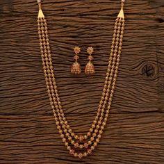 Long Gold Beaded Necklace / Matar Mala/ Beaded Necklace/ Long gold necklace/ Beaded chain/ Long Gold Beaded Necklace / Matar Mala/ Beaded Necklace/ Long gold necklace/ Beaded chain/ I Gold Chain Design, Gold Bangles Design, Gold Earrings Designs, Gold Jewellery Design, Simple Necklace Designs, Diamond Jewellery, Gold Temple Jewellery, Gold Jewelry, Bridal Jewellery