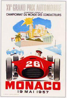VINTAGE FERRARI 1957 MONACO GRAND PRIX AUTO RACING POSTER