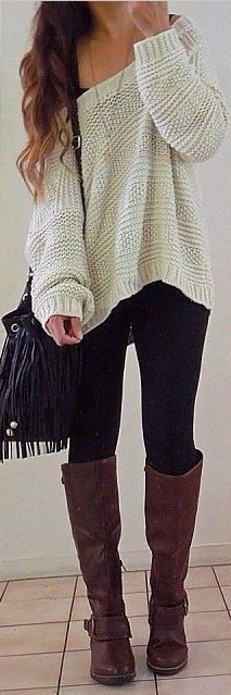 #fall #outfits / off-the-shoulder knit