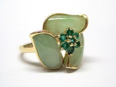 Estate Emerald Jadeite Jade 9K Yellow Gold Ring Fine