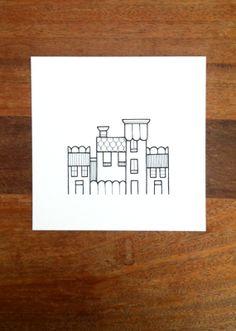 original illustration - 'street' - houses in black and white