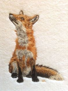 This silk embroidered fox is part of The Bluebird Embroidery Co's British Wildlife Collection created by Helen Richman. Embroidery Hoop Crafts, Crewel Embroidery Kits, Japanese Embroidery, Hand Embroidery Patterns, Machine Embroidery, Embroidery Needles, Embroidery Tattoo, Doily Patterns, Embroidery Patches