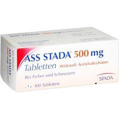 ASS STADA 500 mg Tabletten:   Packungsinhalt: 100 St Tabletten PZN: 03435394 Hersteller: STADAPHARM GmbH Preis: 5,00 EUR inkl. 19 % MwSt.…