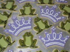 Princess & the Frog, frog and tiara cookies