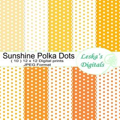Digital paper - polka dots in shades of yellow and orange by DigitalWork, $2.00