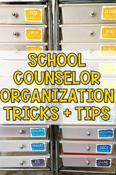 Want to be a more effective school counselor? Get more organized! Check out these tips here! School Counselor Organization, School Counselor Office, School Guidance Counselor, High School Counseling, Elementary School Counselor, Counseling Office, Group Counseling, School School, Elementary Schools