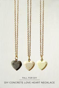 So cute DIY concrete heart necklaces.