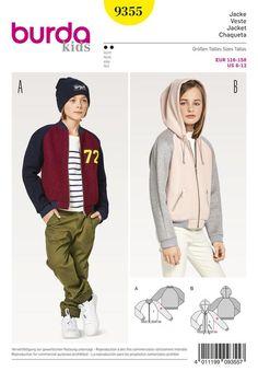 Tops 92-122 Burda Sewing Pattern 9308 Hoodies