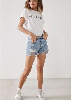 Friends Logo Tee Print Ideas Graphic T-Shirt - Find your wholesale blank Tee for cheap prices at ClothingShopOnline: Urban Outfits, Casual Outfits, Summer Outfits, Cute Outfits, Fashion Outfits, Womens Fashion, Cheap Fashion, T Shirt Outfits, Ladies Fashion